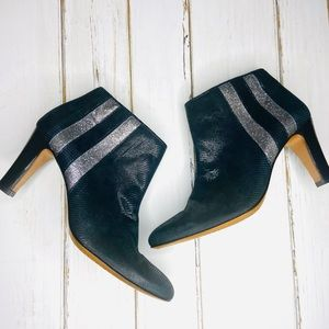 Eponyme Leather Boots Black Glitter Stripe Ankle